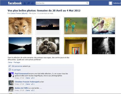 Canon Facebook Plus belles photos